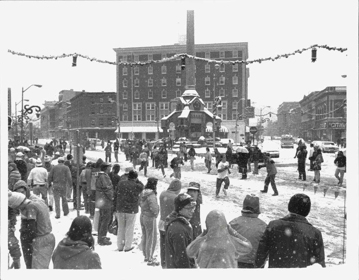 The Turkey Troy was a slushy mess in 1985. The race in 1971 was snowed out when  22 inches of snow fell in the Capital Region. (Paul Kniskern/Times Union Archive)