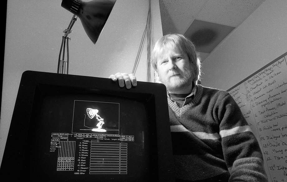 """Dec. 7, 1987: Computer animator Bill Reeves sits by his computer used to work on the Pixar short """"Luxo Jr."""" during an interview at the company's San Rafael headquarters. Photo: Scott Sommerdorf / The Chronicle"""