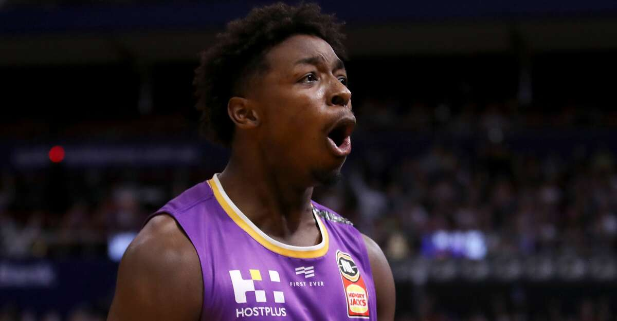 Jae'Sean Tate of the Kings celebrates a basket during game one of the NBL Grand Final series between the Sydney Kings and the Perth WIldcats at Qudos Bank Arena on March 08, 2020 in Sydney, Australia. (Photo by Mark Kolbe/Getty Images)