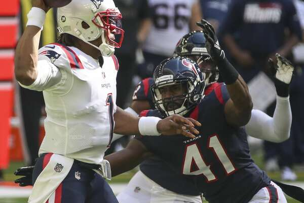 Houston Texans inside linebacker Zach Cunningham (41) pressures New England Patriots quarterback Cam Newton (1) during the first quarter of an NFL game Sunday, Nov. 22, 2020, at NRG Stadium in Houston.