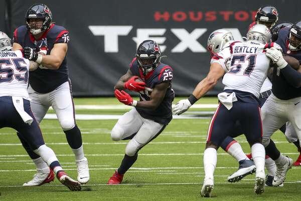 Houston Texans running back Duke Johnson (25) rushes during the fourth quarter of an NFL game Sunday, Nov. 22, 2020, at NRG Stadium in Houston.