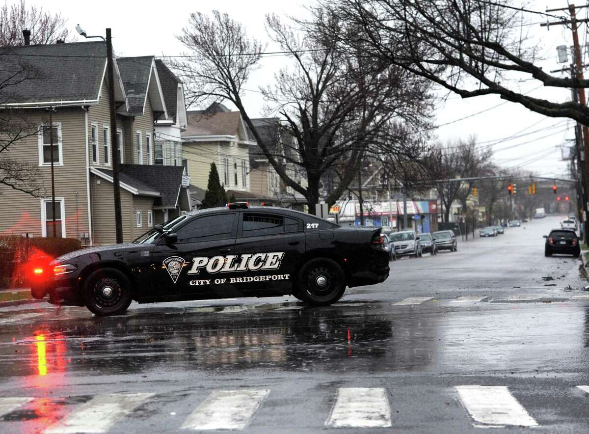 A police on Norman Street in Bridgeport, Conn. on Monday, April 16, 2018.
