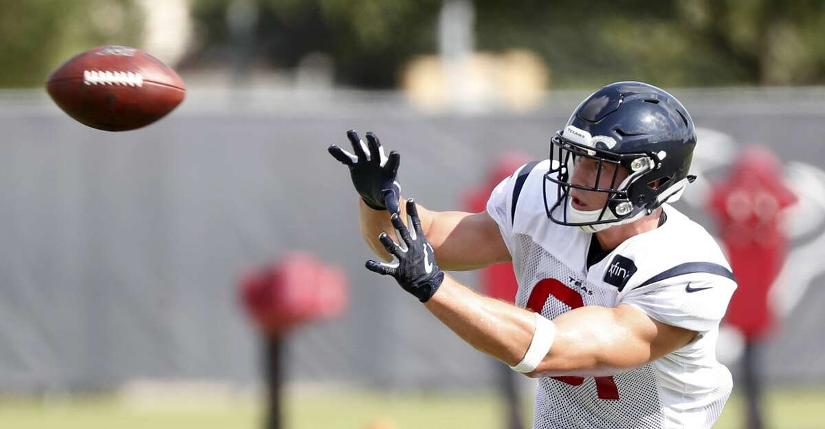 Second-year tight end Kahale Warring has snagged catches during practice. The Texans are still waiting for him to have a reception in a game.