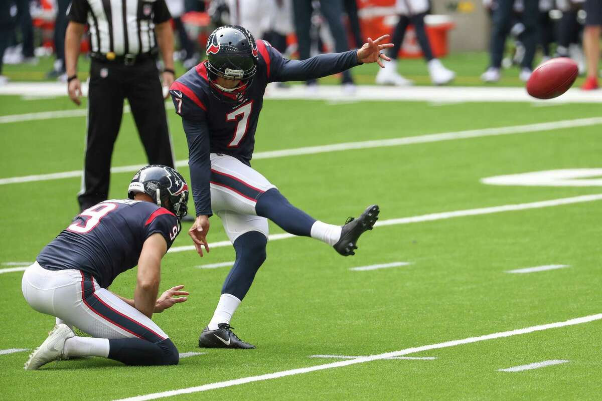 Ka'imi Fairbairn (7) is back for his fifth season as the Texans' kicker but will have to adjust to a new holder after Bryan Anger's offseason departure.