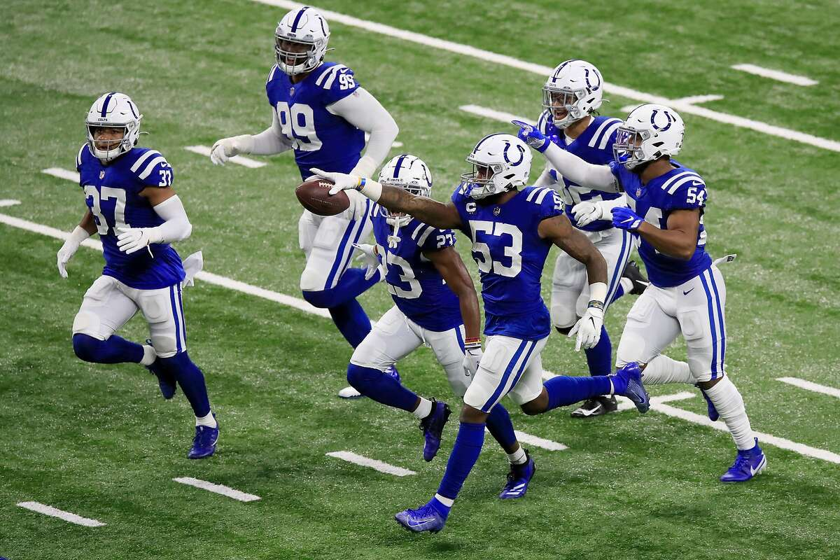 Darius Leonard (53) of the Indianapolis Colts celebrates a fumble recovery in a win over the Green Bay Packers. In the second half, the Colts lived up to their no. 1 defensive rating.