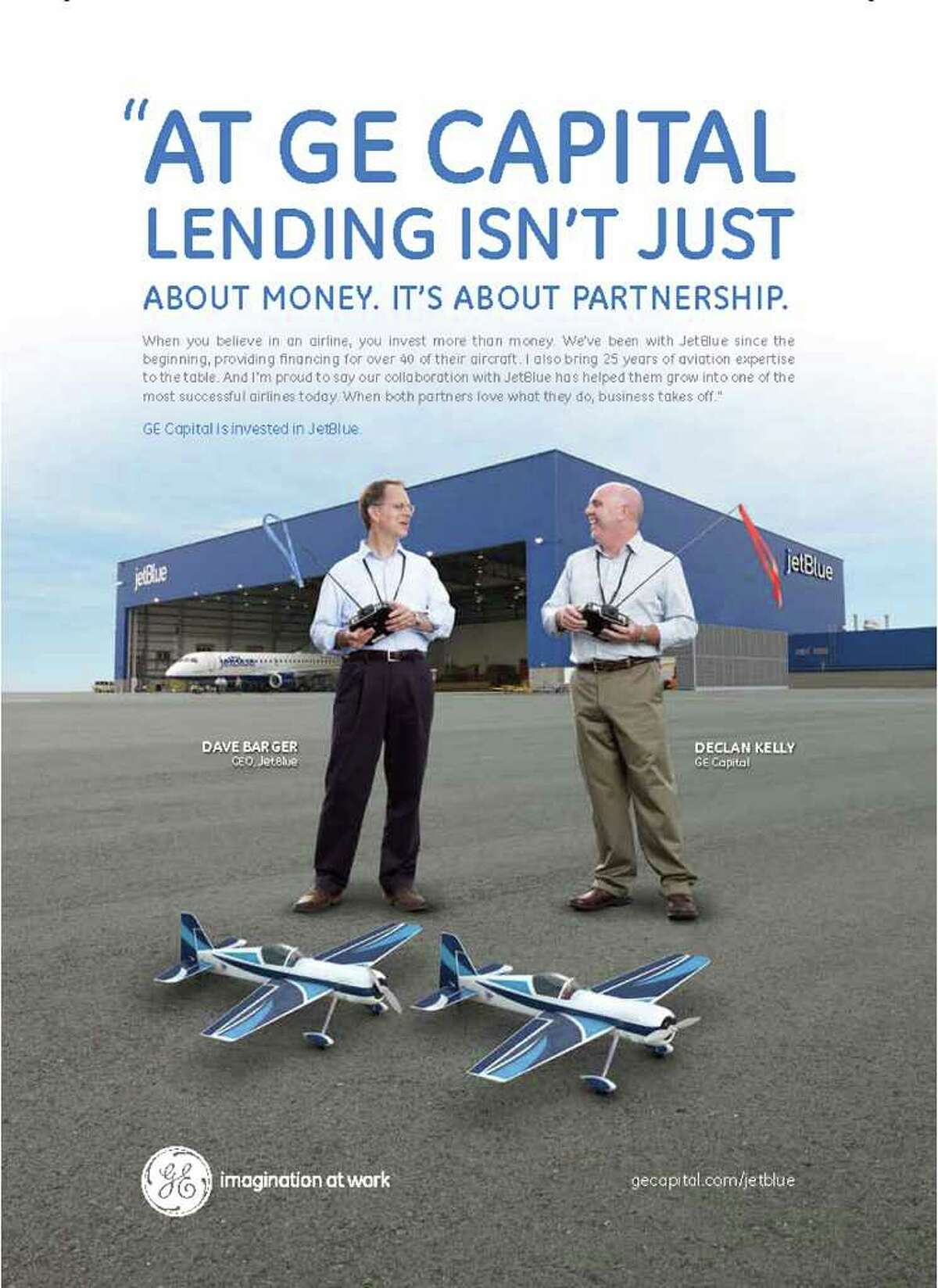 Copy of a print ad from GE Capital's new awareness campaign for its business lending and leasing services.