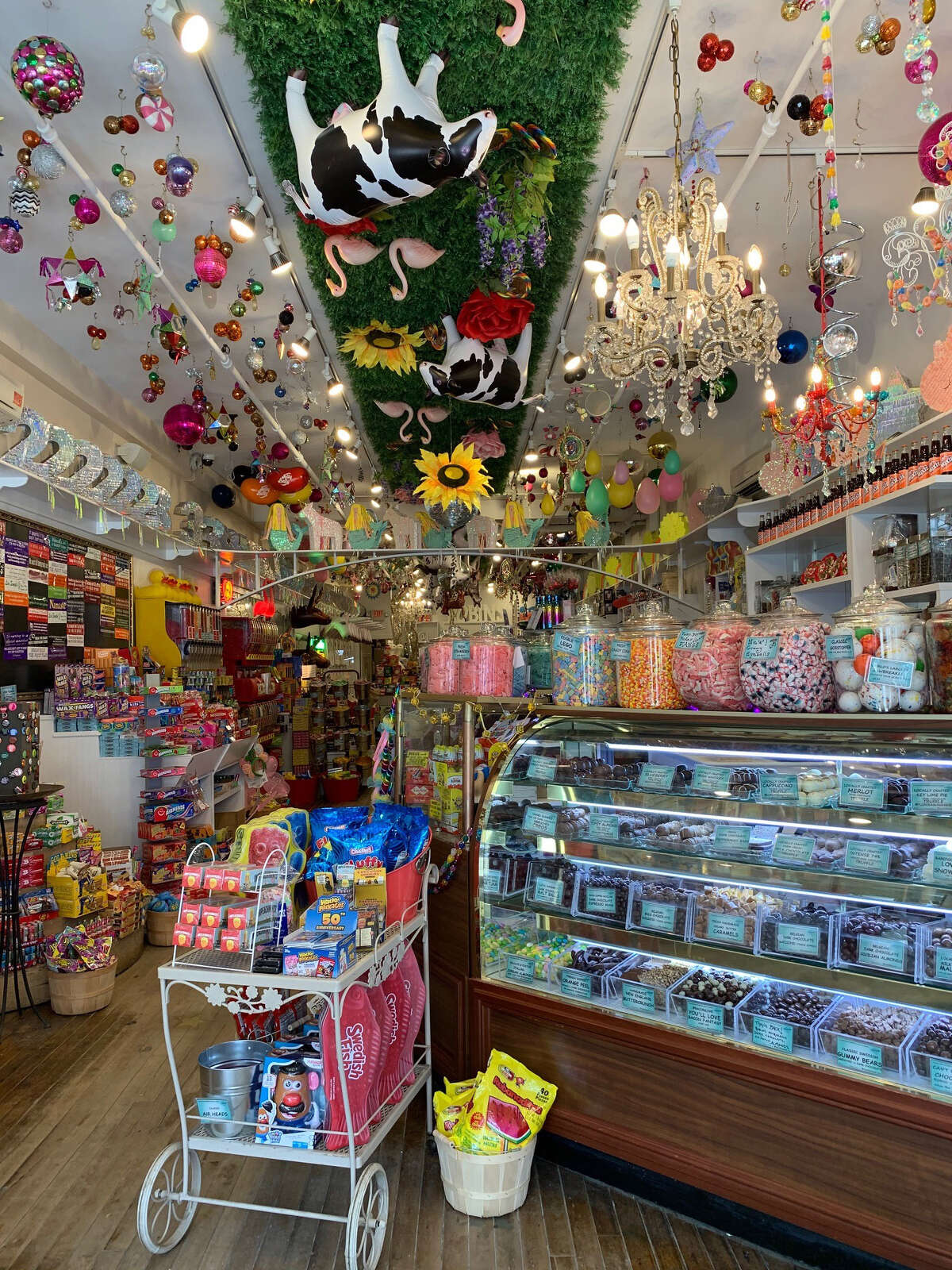 The topsy-turvy, but very charming, Robin's Candy Store in Great Barrington.