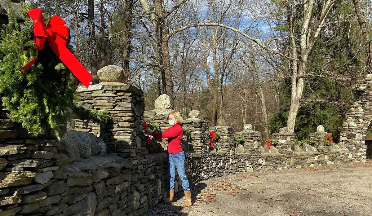 Members of the Friends of Gillette Castle State Park spent a recent weekend decorating the grounds and exterior of the late William Gillette's mansion at 67 River Road.