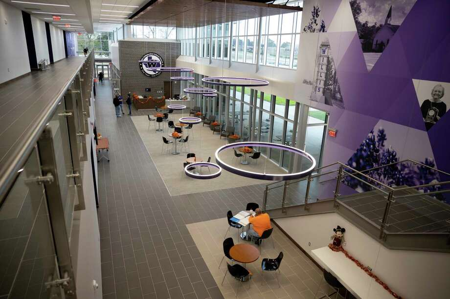 The lobby of the Willis Independent School District's new Sharon Hill Jennette Administration Building in Willis. The school district has more construction planned as it began making a priority list for the $100.15 million bond package approved in the November election. Photo: Gustavo Huerta, Houston Chronicle / Staff Photographer / 2020 © Houston Chronicle