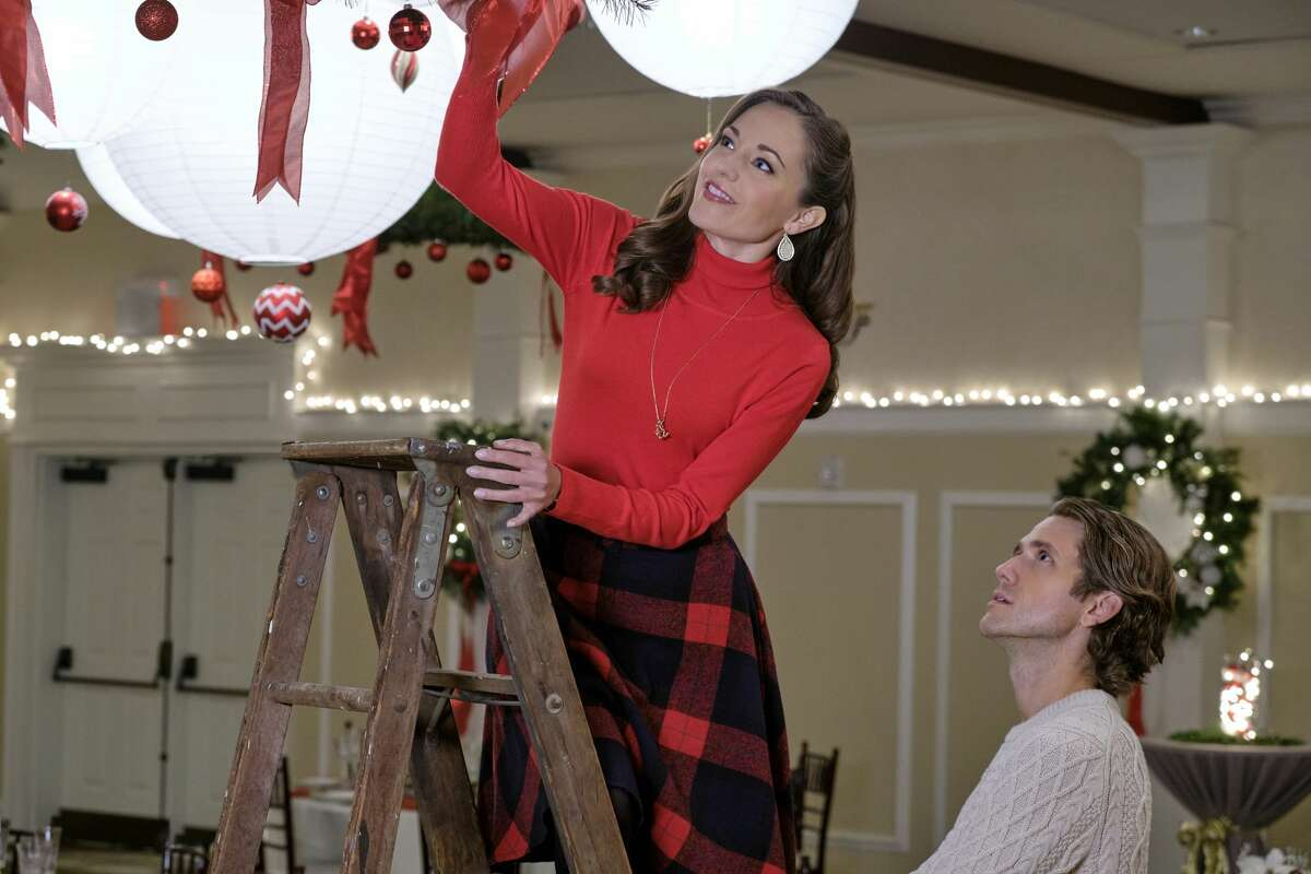 When Anna offers a stranded mother and son shelter in a blizzard, she learns that they are the Royal Family of Galwick. Anna shows the Prince how they do Christmas in her hometown of Kentsbury, Connecticut. Pictured: Broadway actors Laura Osnes and Aaron Tveit.