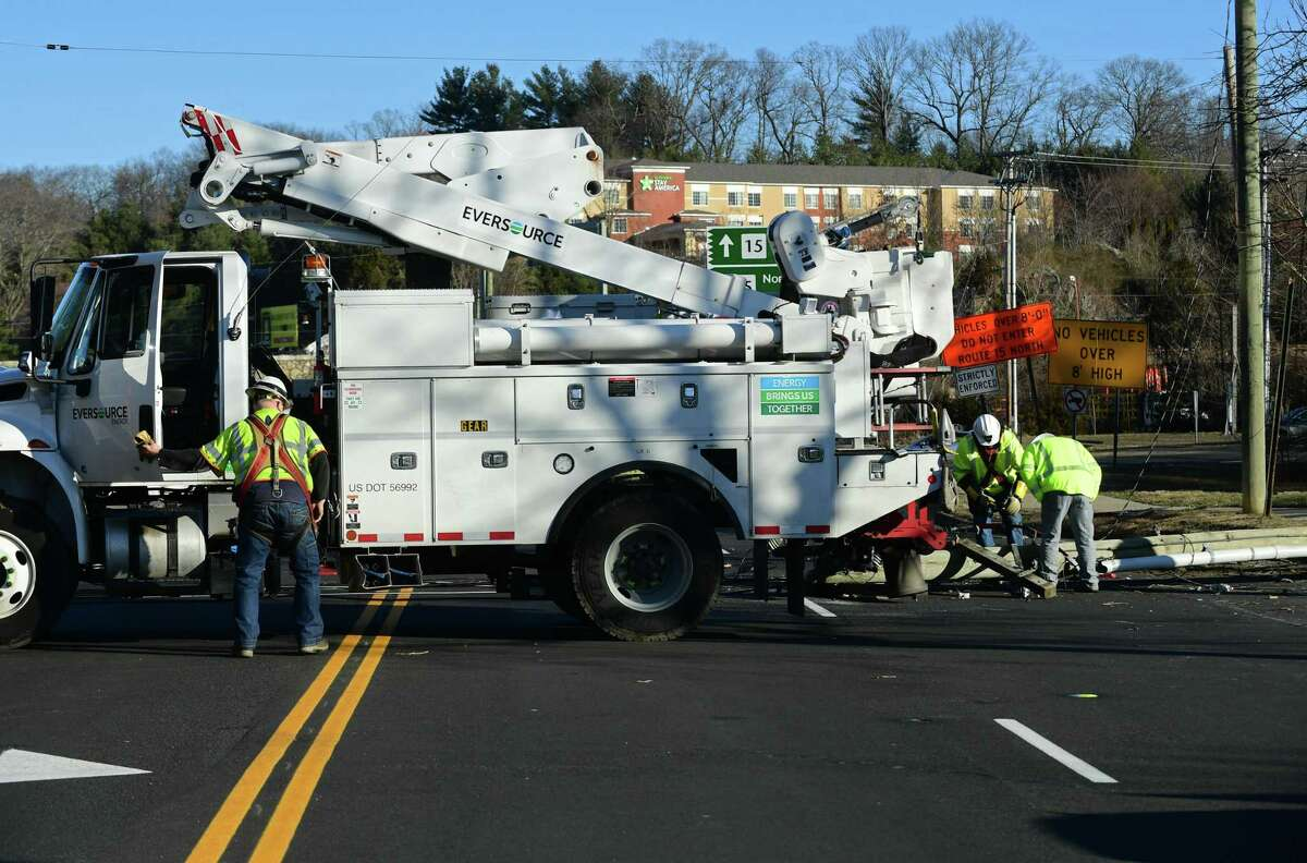 Eversource crews are on a scene to repair a utility pole in Connecticut during a previous period of time.