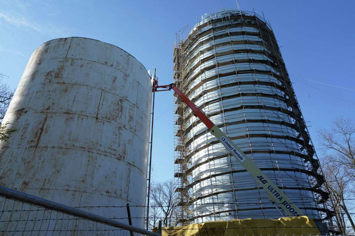 The shorter water tower at Waveny Park in New Canaan was being dismantled, Friday, Nov. 20.