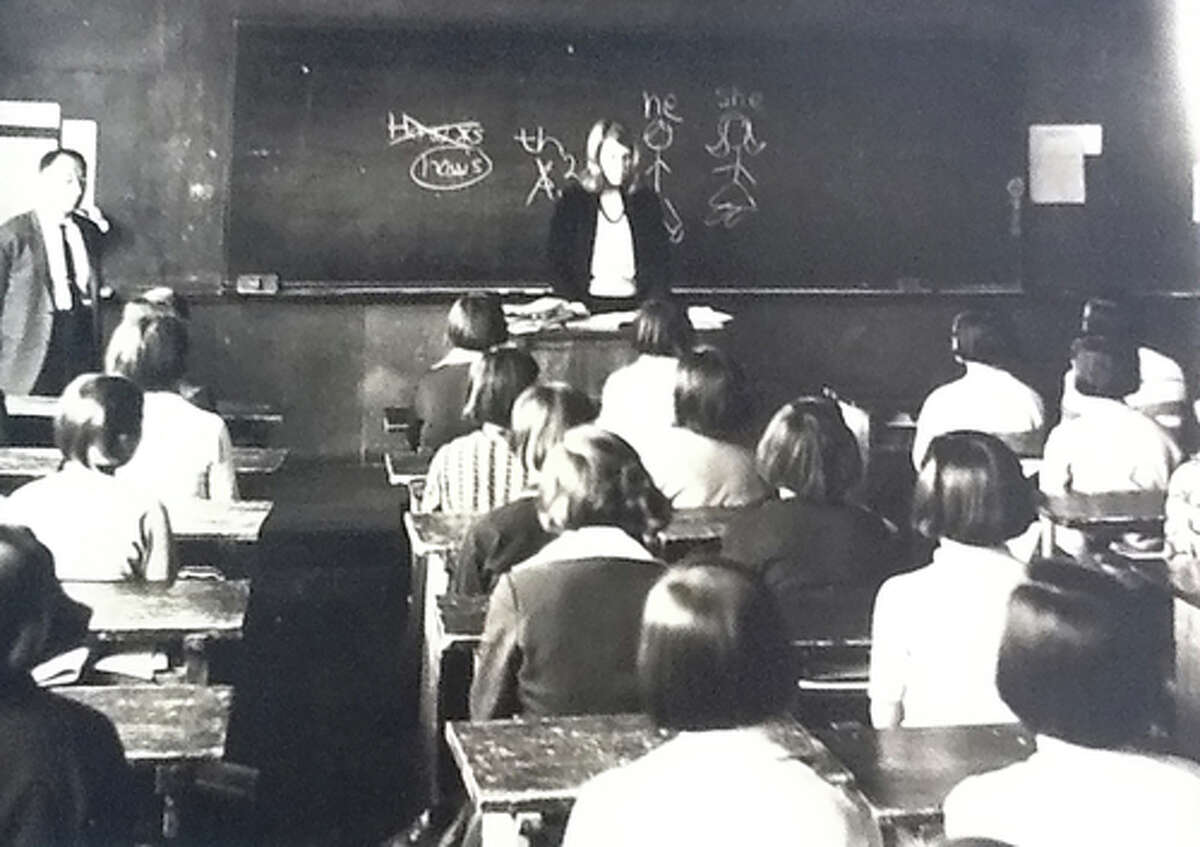 """A photo provided via Sandra Nathan shows Nathan teaching a class in South Korea in the late 1960s as a Peace Corps volunteer. After working as a Peace Corps volunteer, the South Korean government gifted her a packaged labeled """"Covid-19 Survival Box,"""" """"as a token of our gratitude for your dedication to Korea."""" ?(via Sandra Nathan via The New York Times) -- NO SALES; FOR EDITORIAL USE ONLY WITH NYT STORY SKOREA US VOLUNTEER BY CHOE SANG-HUN FOR NOV. 21, 2020. ALL OTHER USE PROHIBITED. --"""