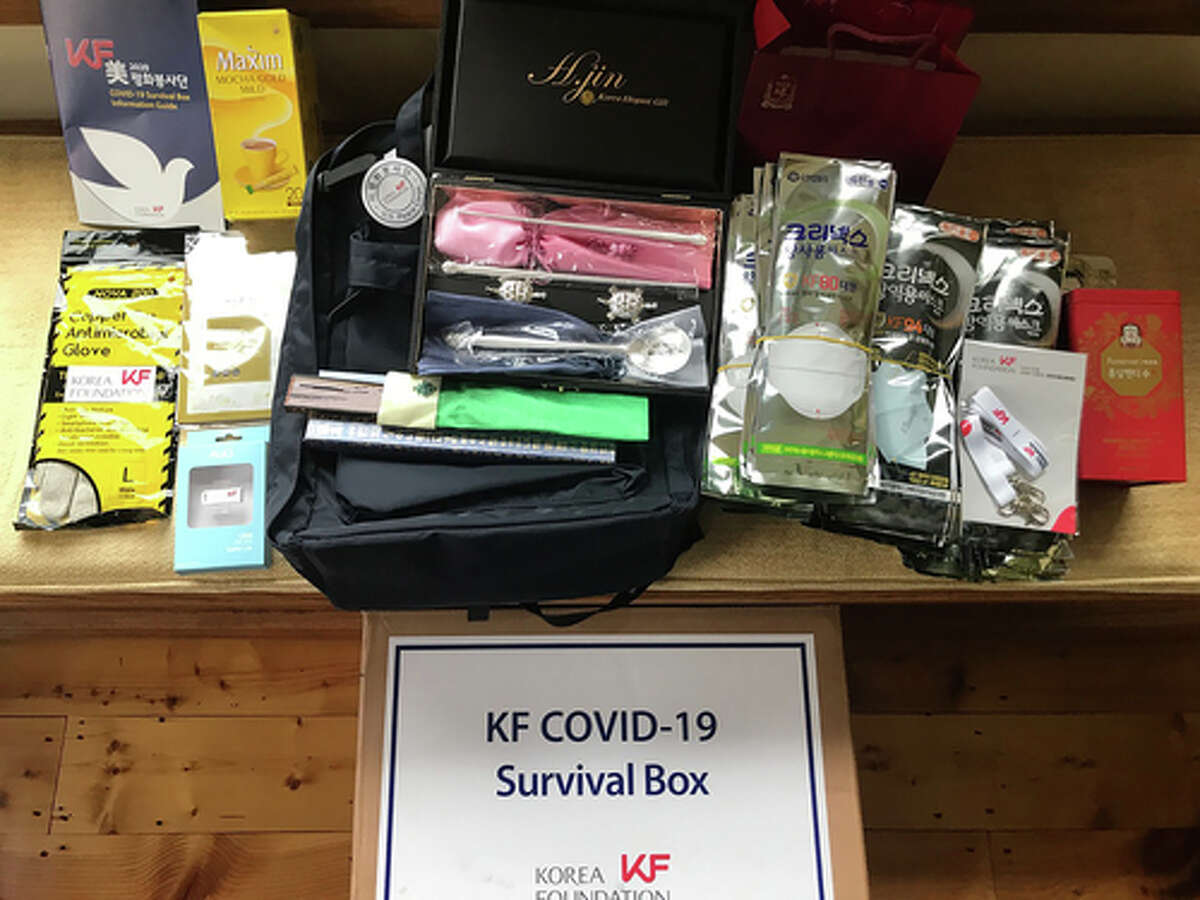 """A photo provided via Sandra Nathan shows a care package Nathan received from South Korea. After working as a Peace Corps volunteer, the South Korean government gifted her the package """"as a token of our gratitude for your dedication to Korea."""" ?(via Sandra Nathan via The New York Times) -- NO SALES; FOR EDITORIAL USE ONLY WITH NYT STORY SKOREA US VOLUNTEER BY CHOE SANG-HUN FOR NOV. 21, 2020. ALL OTHER USE PROHIBITED. --"""