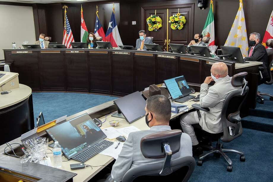 Laredo City Council members sit socially distanced during a regular meeting, Sept. 8, 2020, at City Hall. Photo: Danny Zaragoza /Laredo Morning Times File
