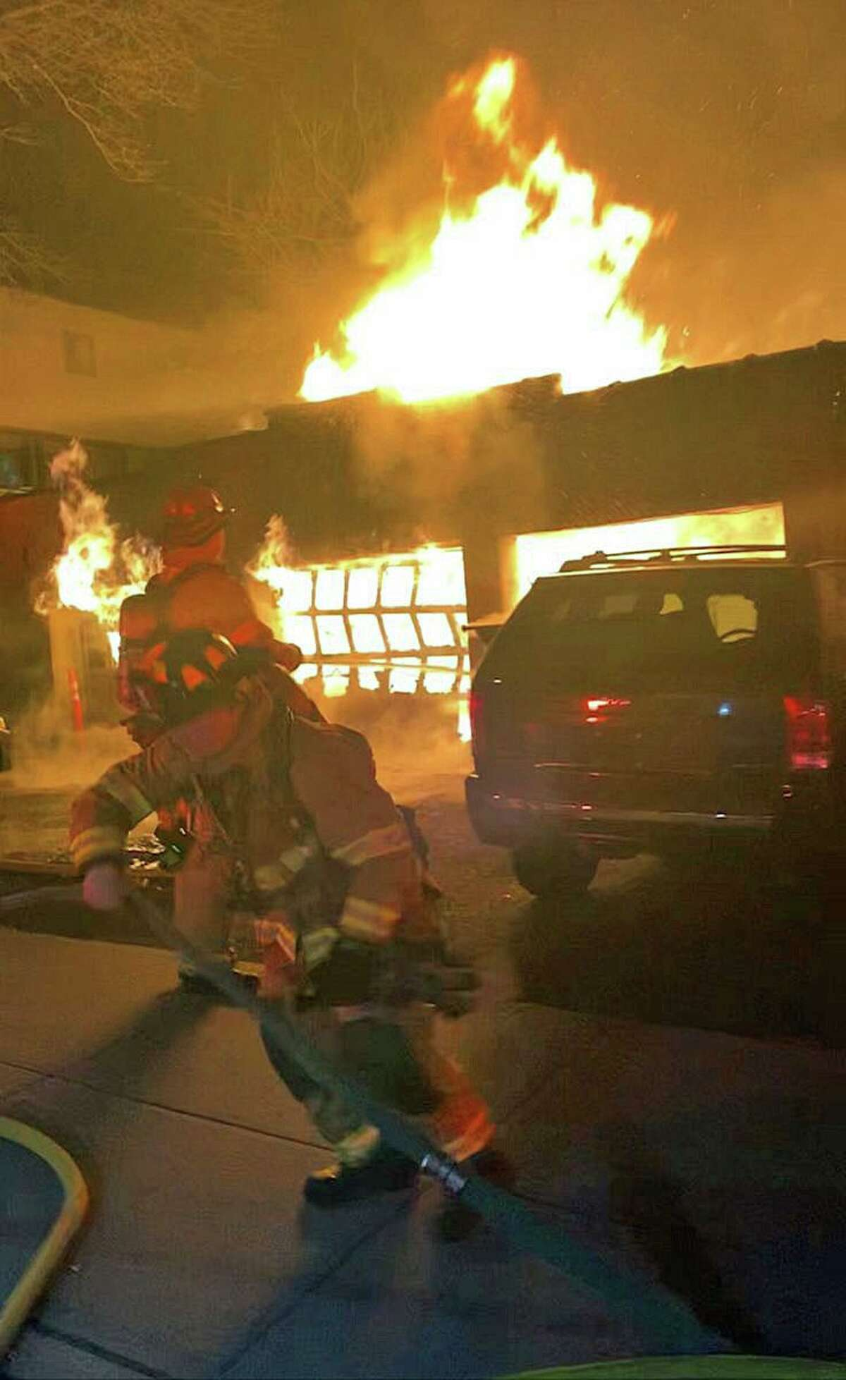 A garage fire on Diaz Street in Stamford, Conn., on Sunday, Nov. 22, 2020.