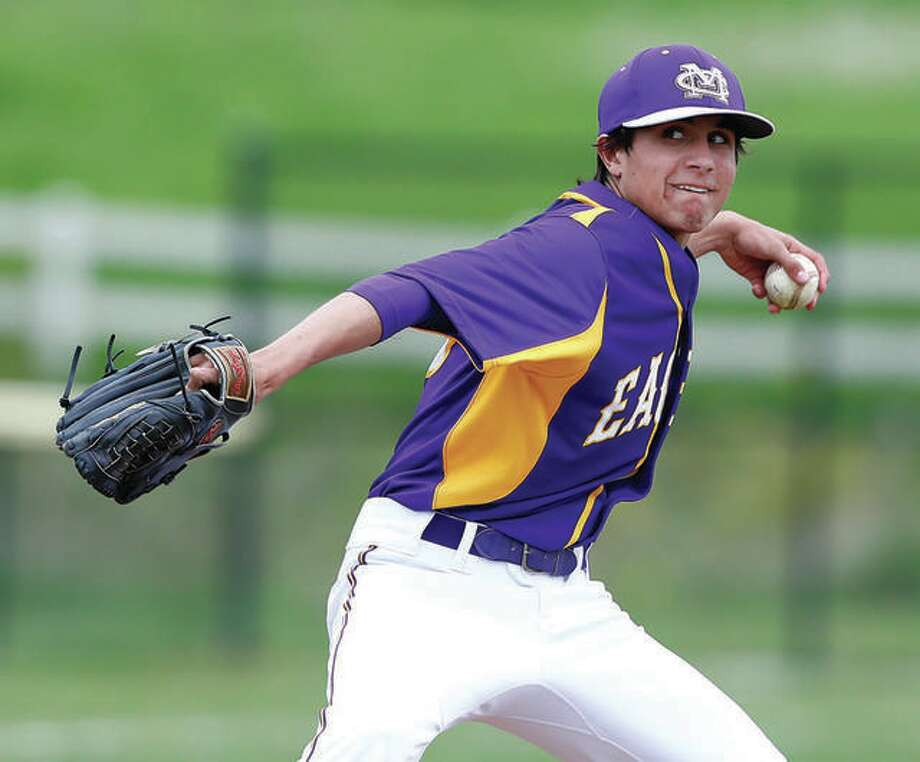 Brandon Hampton delivers a pitch during his prep days at Civic Memorial. Hampton, who now pitches for McKendree University, is one of three pitchers signed Monday by the Alton River Dragons summer-collegiate Prospect League team. Photo: Telegraph File Photo