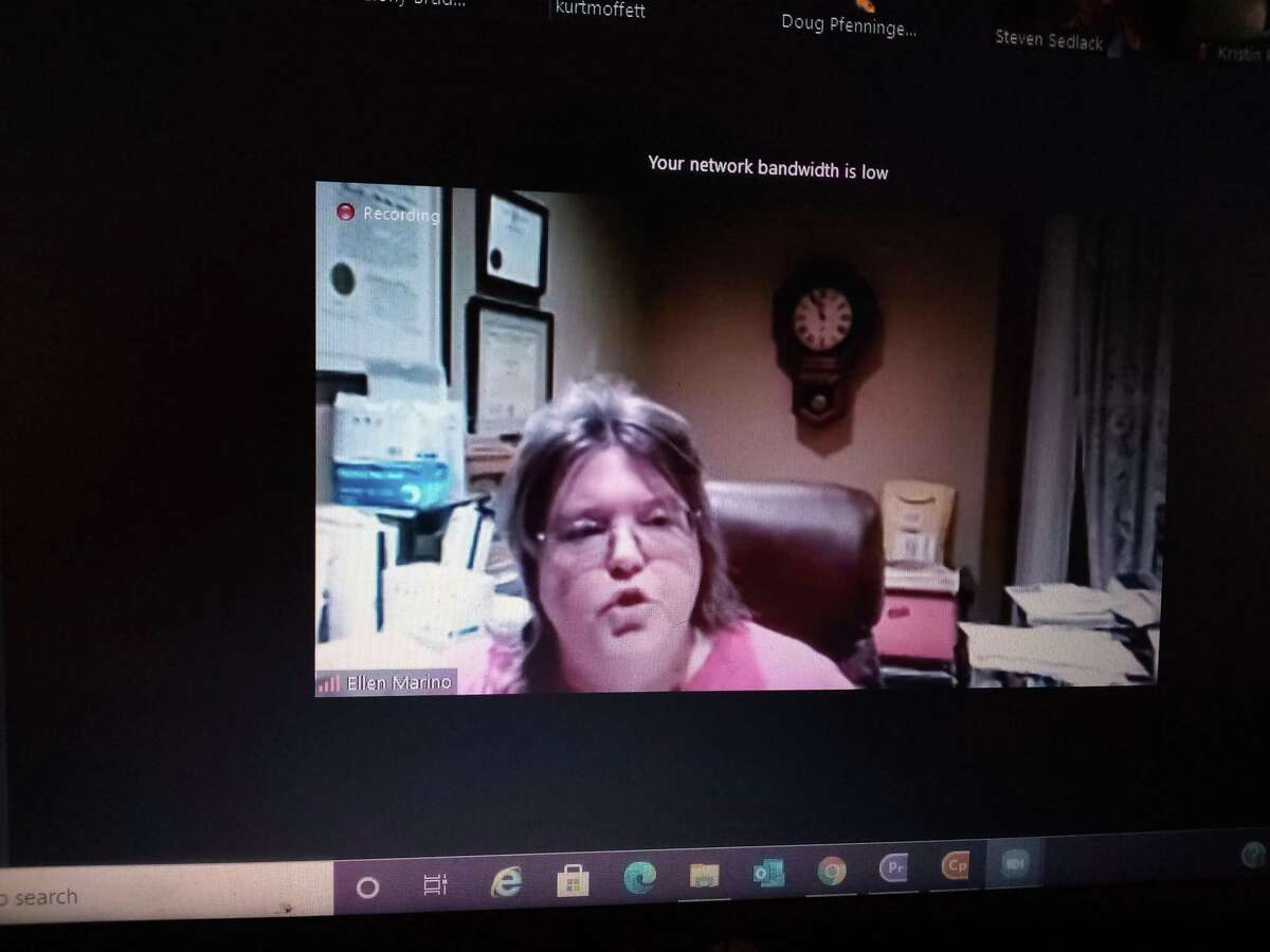 An ad-hoc committee of members of the Winchester Board of Education and the Gilbert School Corporation met on Zoom to discuss a new contract Thursday night. Above, Gilbert School Corp. member Ellen Marino speaks.