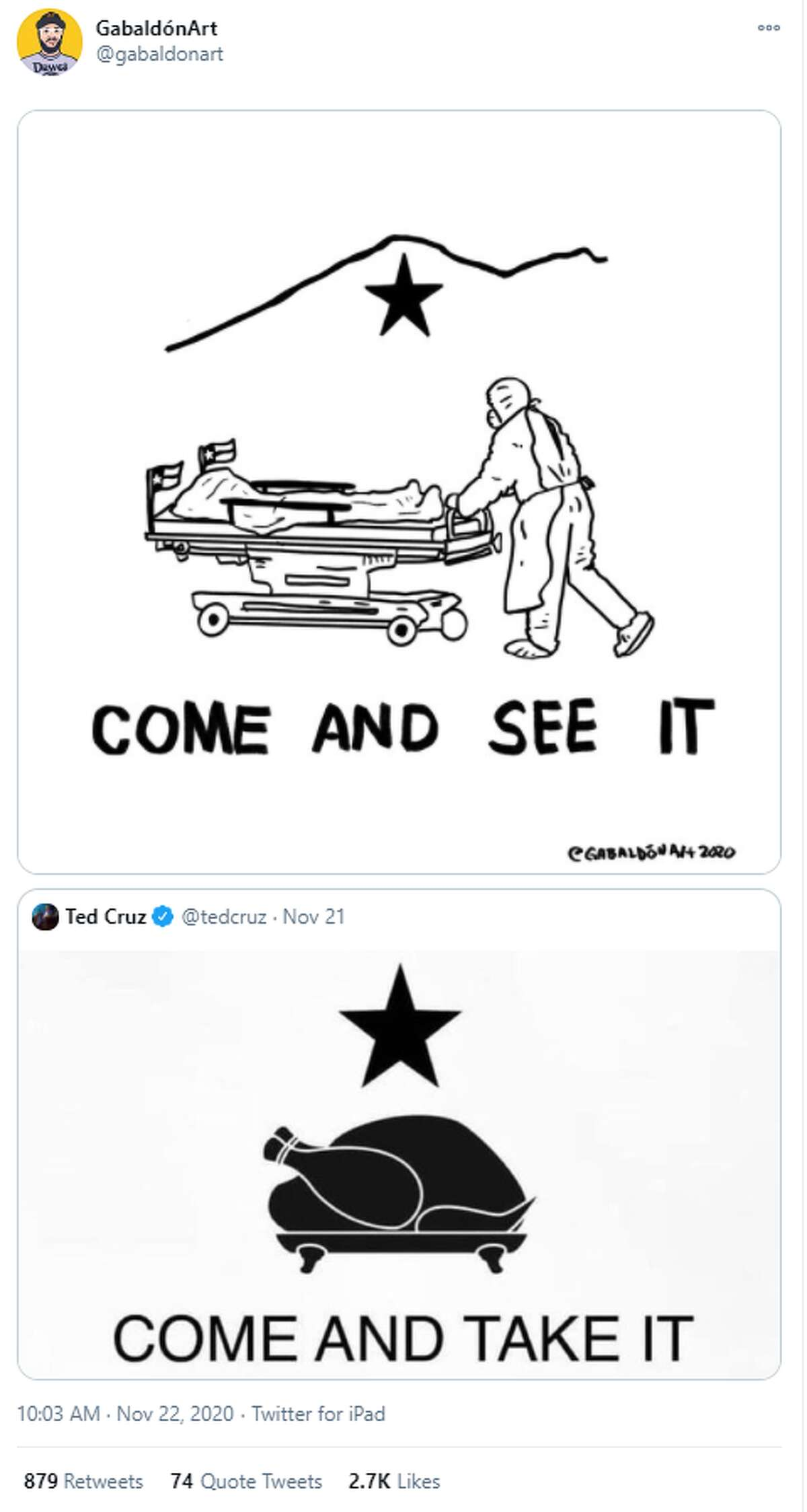An El Paso artist was one of many who responded to U.S. Sen. Ted Cruz's Thanksgiving tweet that some say is insensitive to the coronavirus crisis.