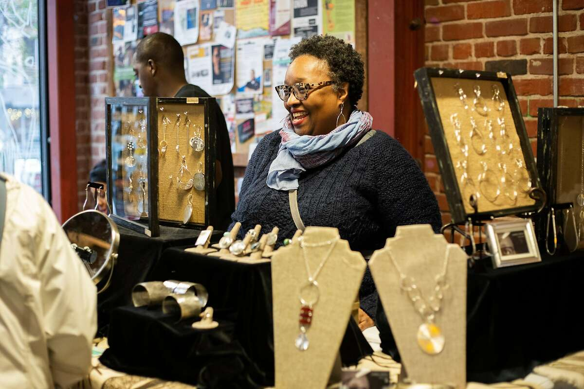 Oakland metalsmith Karen Smith sells her jewelry at Just Be's 2019 For the Culture holiday market.