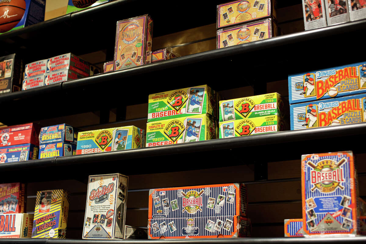 Boxes of trading cards at Classic Materials Sports & Collectibles located in Stonestown Galleria, San Francisco.