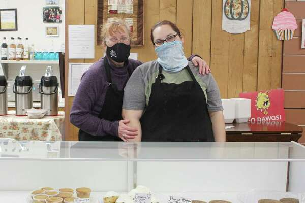 Pictured is Three Girls Bakery Owner Paula Beilfuss (left) and her daughter, Rachel Baker (right). The two have been running the bakery in Big Rapids for more than eight years. (Pioneer photo/Catherine Sweeney)