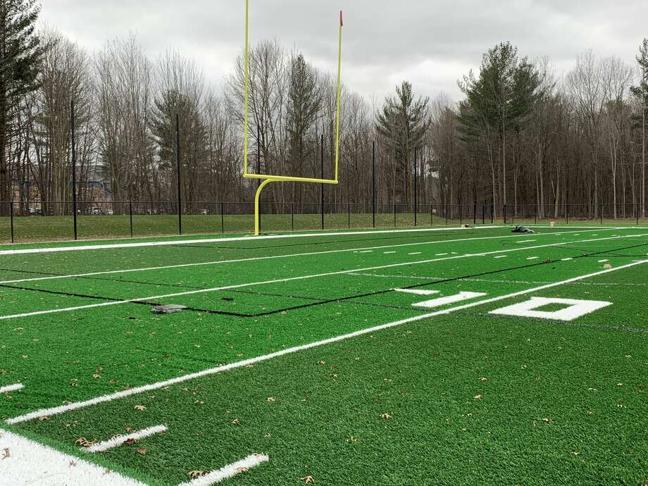 Dow High's new turf field is seen shortly before completion on Nov. 11, 2020. Photo: Daily News File Photo