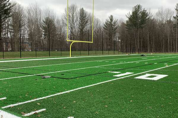 Dow High's new turf field is seen shortly before completion on Nov. 11, 2020.