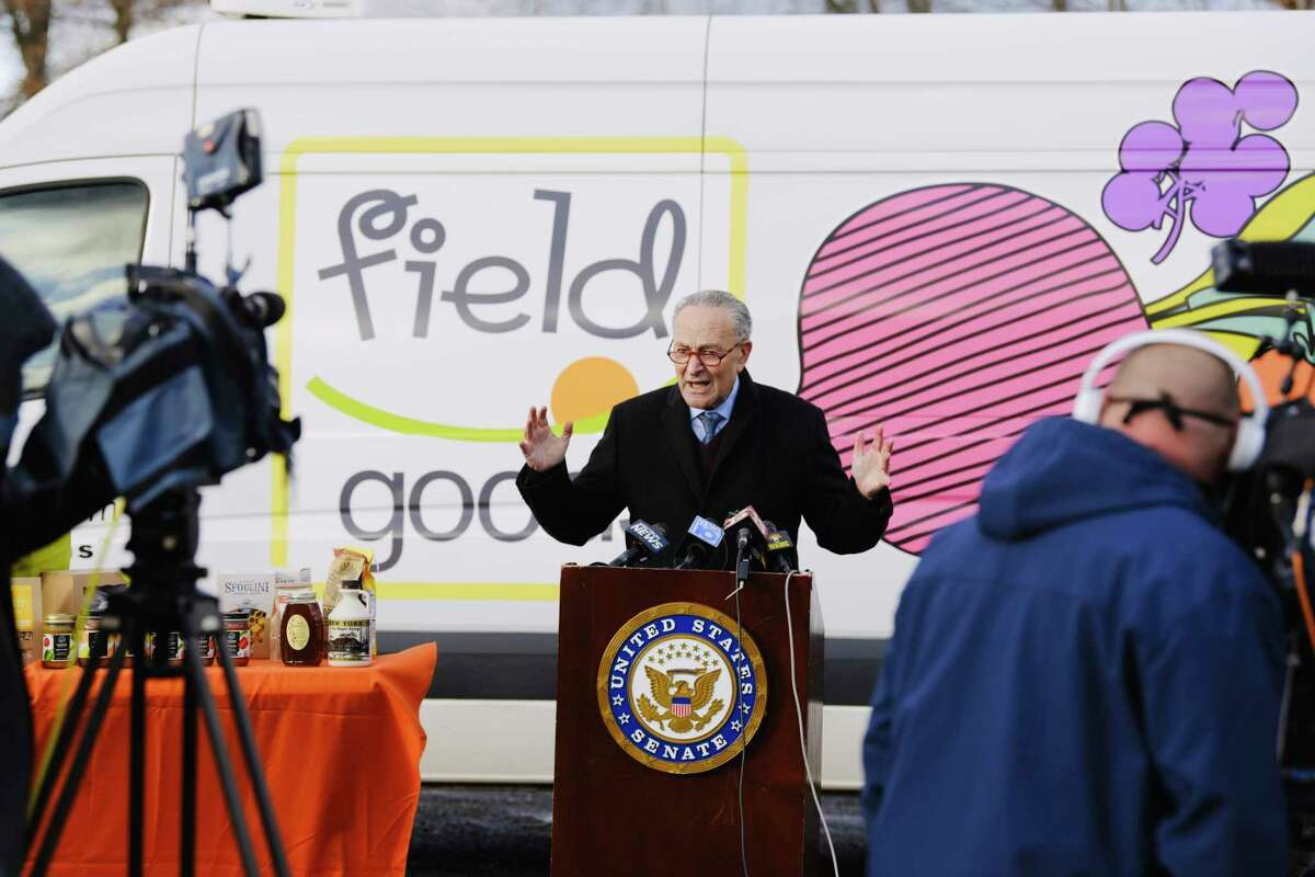 Senator Charles Schumer speaks at a press conference at Field Goods on Monday, Nov. 23, 2020, in Athens, N.Y. Senator Schumer held the event to call for a second round of PPP to help small businesses. (Paul Buckowski/Times Union)