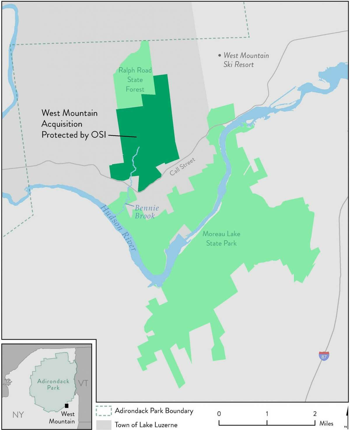 The West Mountain property will be added to the Ralph Road State Forest. Moreau State Park is just south of the property.