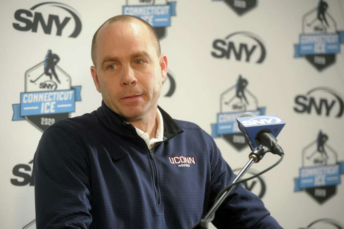 UConn's head hockey coach Mike Cavanaugh speaks at a press conference in 2019 at Webster Bank Arena in Bridgeport.