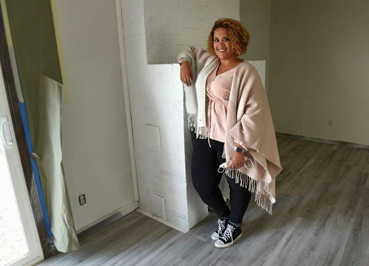 Jessica Rowell stands inside one of her real estate investment homes she's renovating on Wednesday, Nov. 18, 2020 in Slingerlands, N.Y. (Lori Van Buren/Times Union)