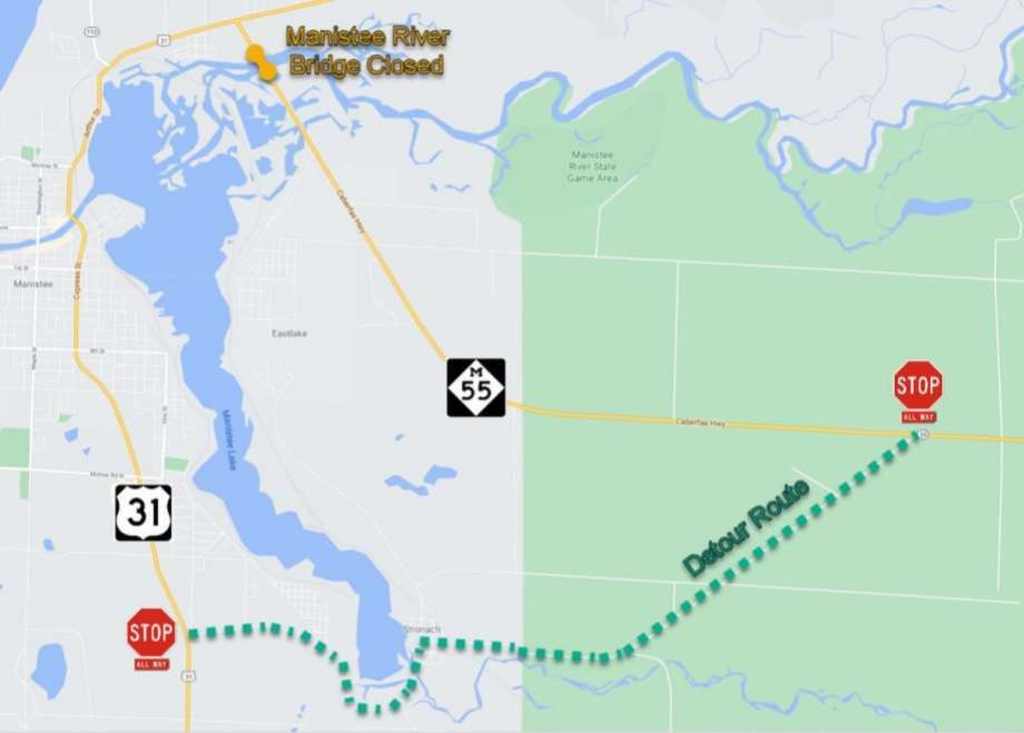 Plans to replace the deteriorated M-55 bridge in Manistee mean traffic will be detoured along Stronach Road around the south end of Manistee Lake starting next month. The detour will be in effect from Dec. 1 until November 2021. Photo: Courtesy Map/Michigan Department Of Transportation