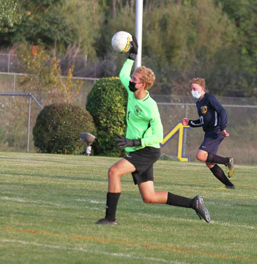 With a first-team nod, Drew Schlaff was named the Lakes 8 Conference's top goalie this fall. (News Advocate file photo)