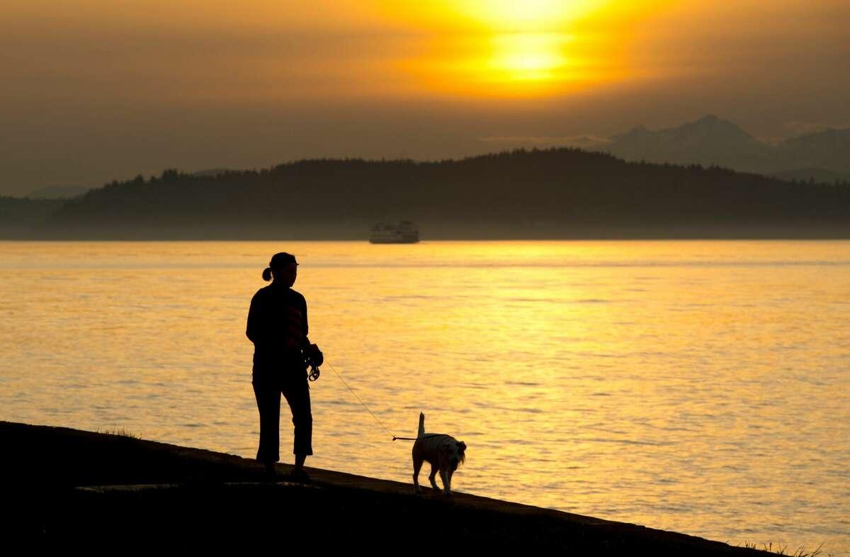 Sunset on Alki Beach, Seattle.