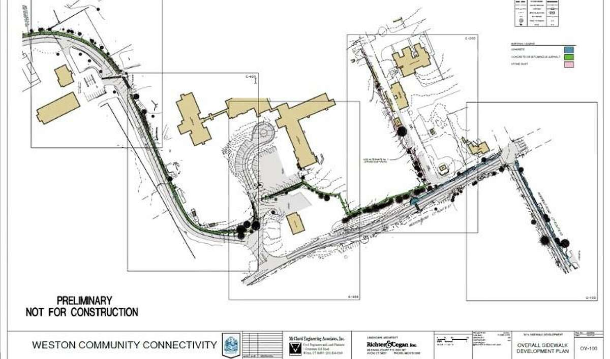 A preliminary sketch for the Weston Community Conectivity sidewalk project by Richter & Cegan shown to the Weston Board of Selectmen at its meeting on Nov.19.