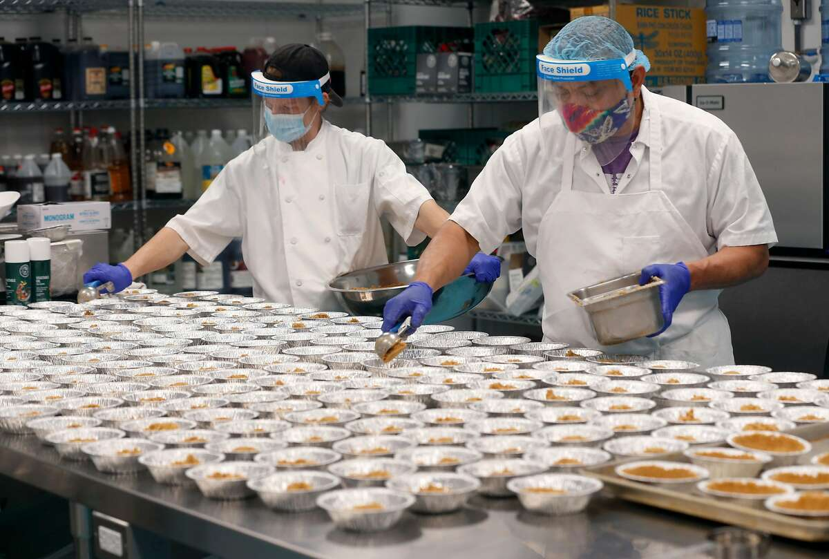 Trevor McLaughlin (left) and Celestino Herrera prepare mini pumpkin pies that will be packaged with Thanksgiving Day meals at the Meals on Wheels kitchen and distribution center in San Francisco, Calif. on Wednesday, Nov. 11, 2020. The new facility, which features a 25,000 sq. ft. kitchen and can prepare as many as 30,000 meals a day, opened in late October just in time for the busy holiday season.