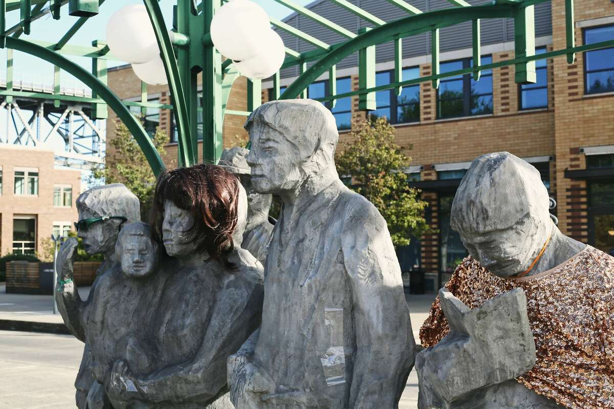 Waiting for the Interurban statue in Seattle's Fremont neighborhood.
