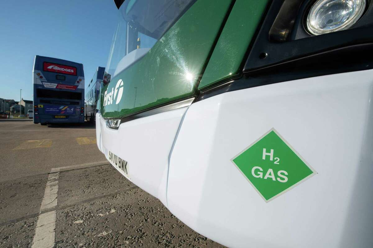 (FILES) In this file photo taken on November 5, 2020 a hydrogen-powered double-decker bus is pictured in Ellon in Aberdeenshire, Scotland. - The Scottish city of Aberdeen enjoyed a boom after the discovery of oil in the North Sea in the 1960s, propelling it to a central role in the industry. Now it's preparing to launch a fleet of the world's first hydrogen-powered double-decker buses, as it tries to reduce air pollution and transform itself into a green economy. (Photo by Michal Wachucik / AFP) (Photo by MICHAL WACHUCIK/AFP via Getty Images)