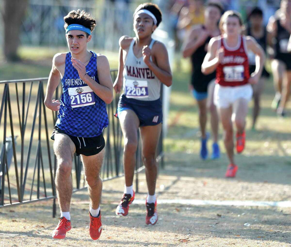 Ronan O'Donnell of Friendswood posted a 16:26.76 time in the Class 5A race during the UIL state cross country championships Monday at Old Settlers Park, Monday in Round Rock.