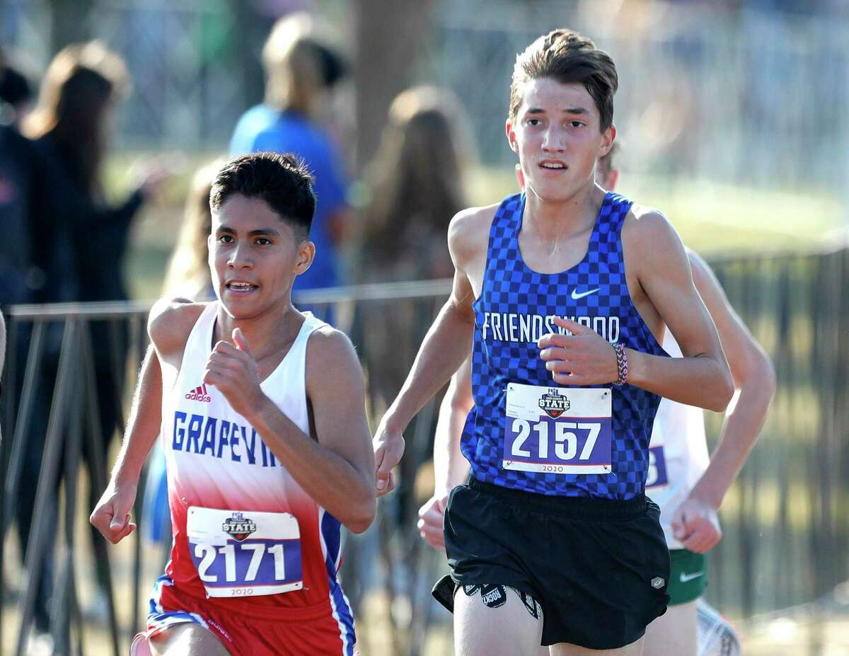 Sophomore Seth Thompson of Friendswood ran a 16:02.68 time in the Class 5A race during the UIL state cross country championships Monday at Old Settlers Park in Round Rock.