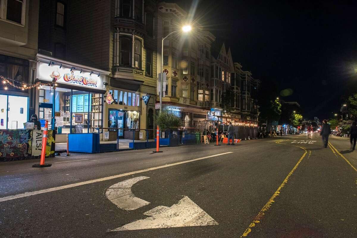 San Francisco's Valencia Street by night on November 19, 2020.