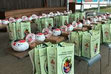 Some of the 46 turkey dinners that police officers delivered to families in need all over Stamford on Sunday.