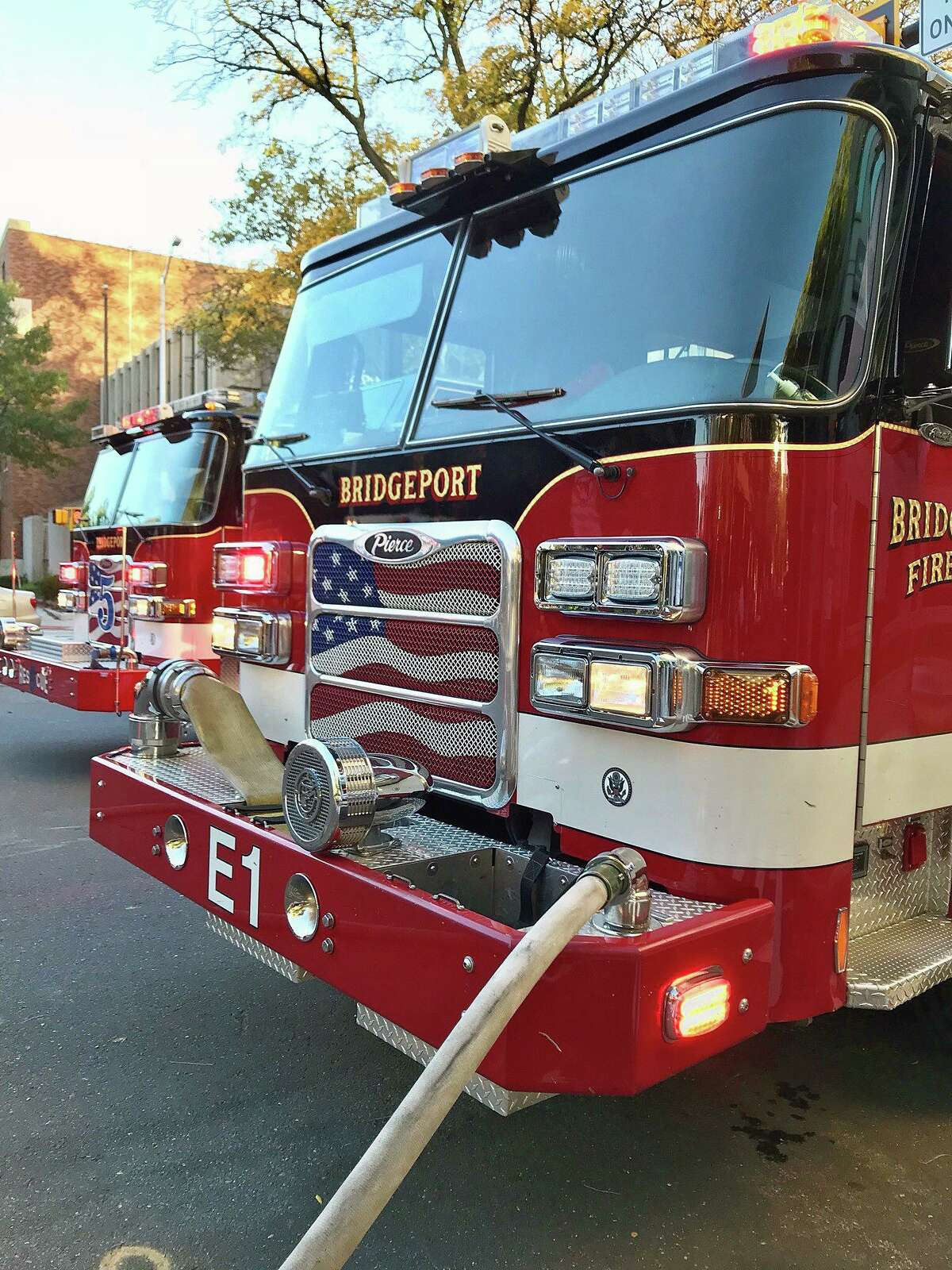 A file photo of Bridgeport, Conn., fire engines.