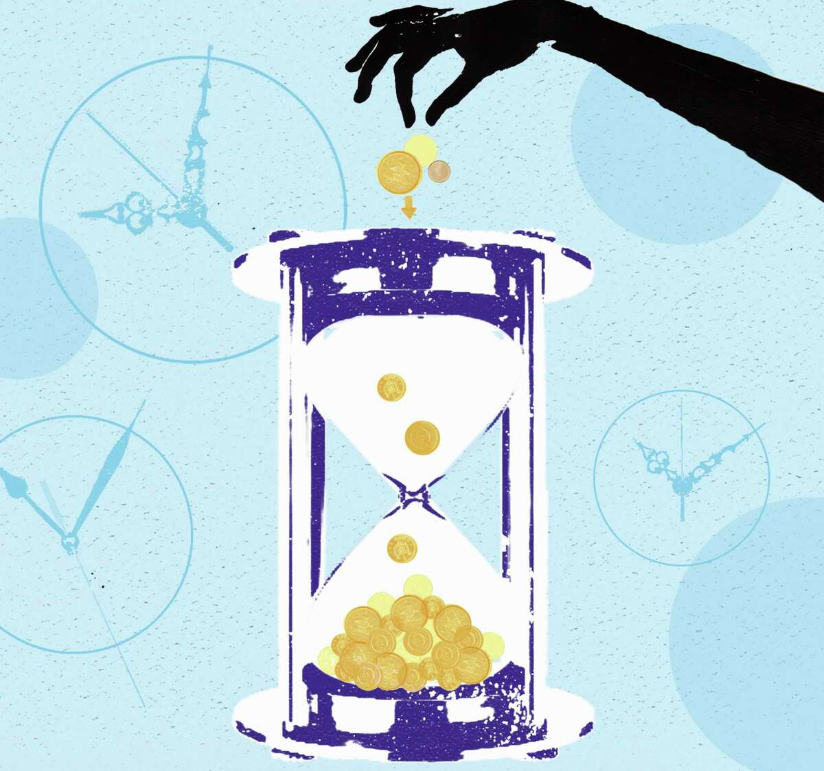Investor dropping coins in hourglass