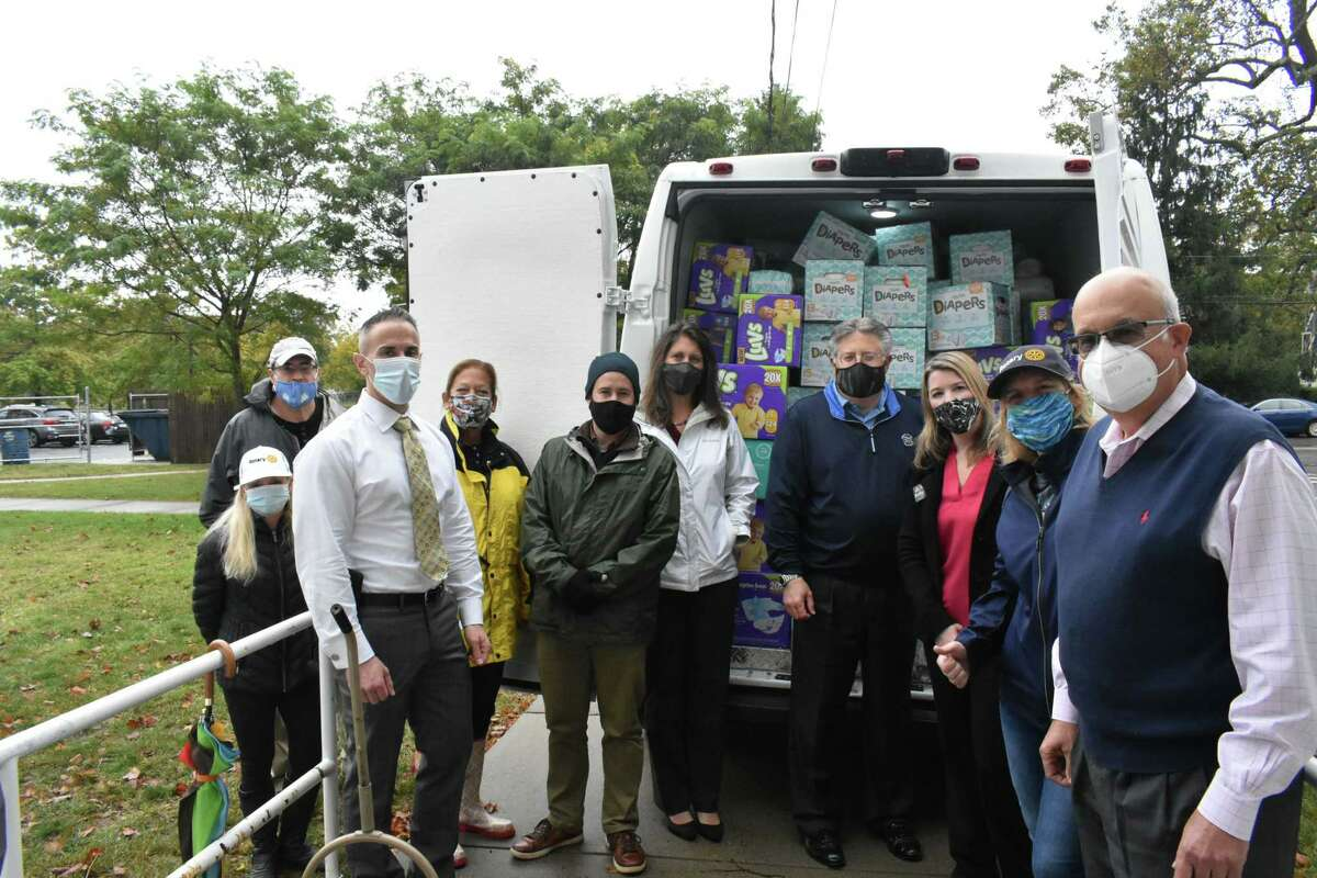 The recent diaper drive of The Rotary Club of Milford received 1,750 packages of diapers that were donated to the United Way of Milford and the Ronald McDonald House in New Haven.