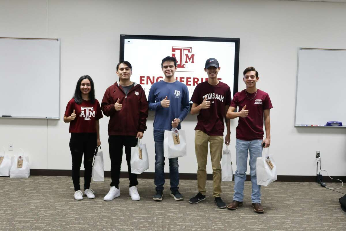 """Members of the Texas A&M University-Concho Engineering Academy at Midland College second-year student cohort are Añanna Vela, ocean engineering major, from left,; Esteban Ballinas, electrical engineering major; Andrew Sanchez, biomedical engineering major; Lane Tang, computer engineering major; and Cristian Valeriano, mechanical engineering major. The Midland Aggies Moms Club last week presented the students with gift bags that included homemade cookies and Texas A&M """"swag"""" to help them get through final exams."""