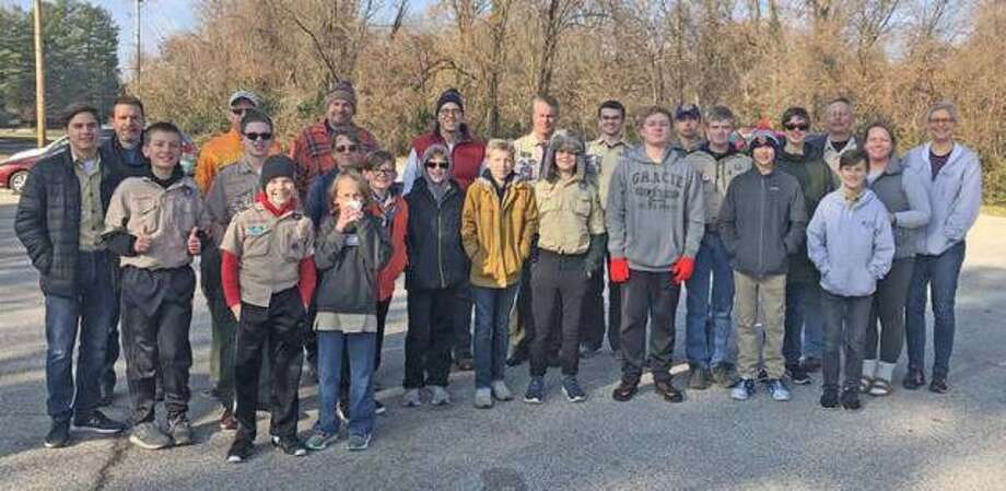 Boy Scout Troop 8216 of Edwardsville during pickup day of the Scouting for Food event in November 2019. This year, the Boy Scouts will not do neighborhood pickup due to COVID-19 concerns but will instead have dozens of drop-off locations in the St. Louis area, including at least 10 in Madison County Photo: For The Intelligencer