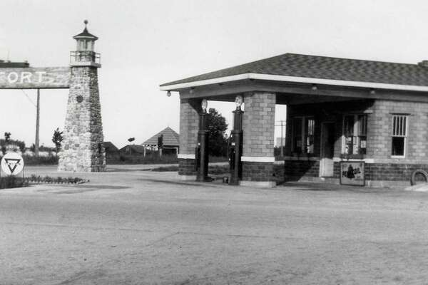 A gas station located at the corner of M-22 and Main Street in Frankfort, circa late 1920s. The mineral spring cupola is in the background. This is the current location of the present BP station and the future site of the library on opposite side of the Gateway Arch. (Courtesy Photo)