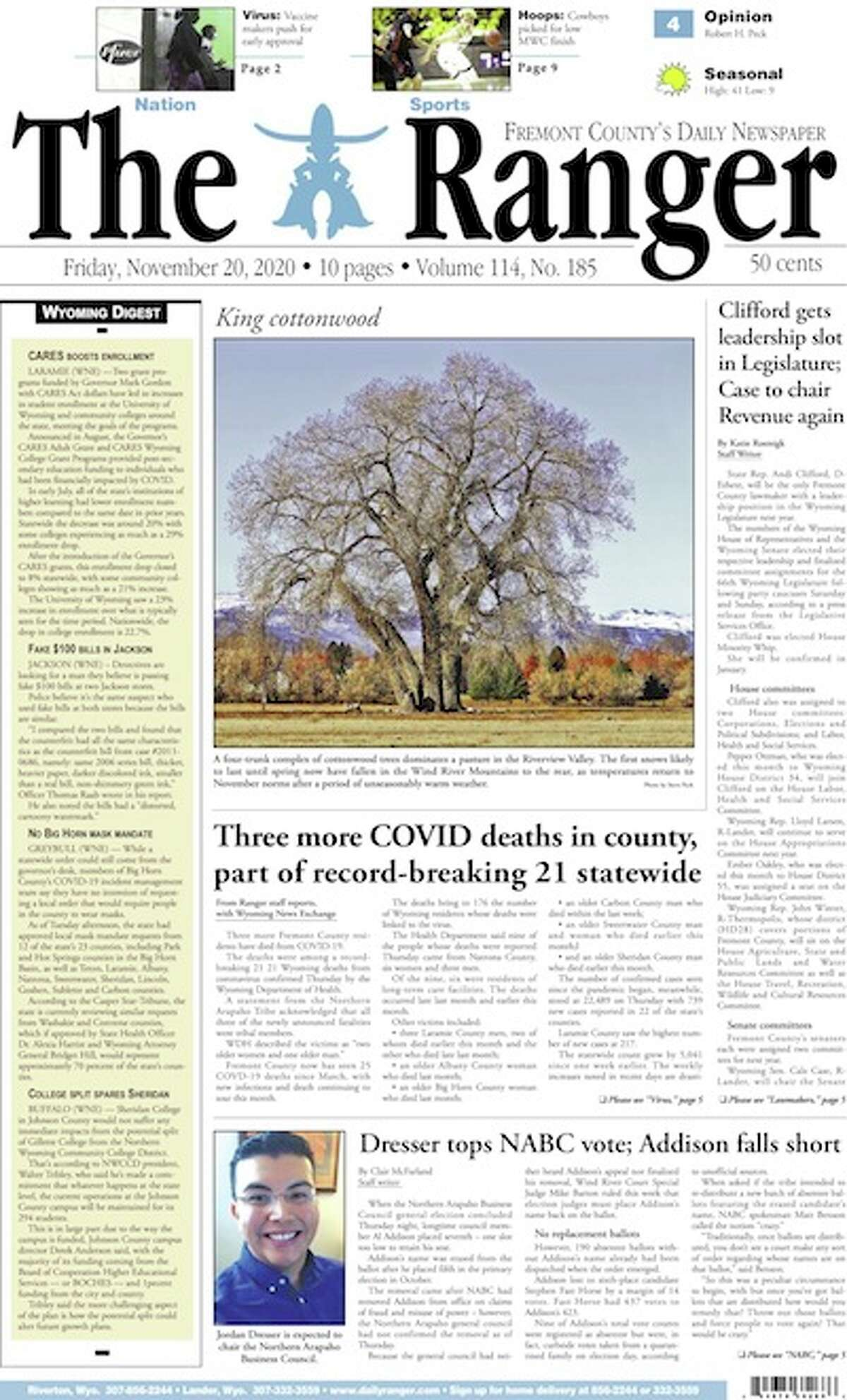 The front page of the Ranger - a family-owned daily newspaper serving Riverton, Lander and Fremont County, Wyoming, since 1949 - on Nov. 24, 2020.